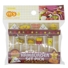 Torune Mama's Assist Lunch Box Accessories Bento Decoration Japanese 3D Food Picks Fast Foods in Hamburger Restaurant Picks Set of 8 Pieces (Hamburgers, Sandwiches, Hotdog, Fried Chicken Leg, French Fries, Drink) P-3142