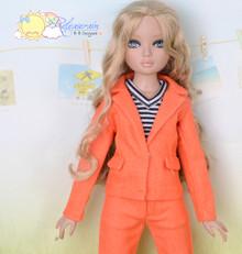 "16"" Fashion Doll Clothes Orange Suit Jacket Jeans 3pcs Set Outfit for Tonner Ellowyne Wilde"