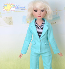 "16"" Fashion Doll Clothes Aqua Suit Jacket Jeans 3pcs Set Outfit for Tonner Ellowyne Wilde"