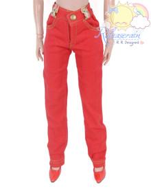 "Releaserain Doll Clothes Red Denim Jeans Pants For 16"" Fashion Dolls Tonner Tyler Ellowyne Wilde Antoinette"