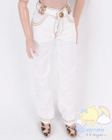 "Releaserain Doll Clothes Cream White Denim Jeans Pants For 16"" Fashion Dolls Tonner Tyler Ellowyne Wilde Antoinette"