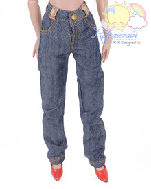 """Releaserain Doll Clothes Navy Blue with White Twill Denim Jeans Pants For 16"""" Fashion Dolls Tonner Tyler Ellowyne Wilde Antoinette"""