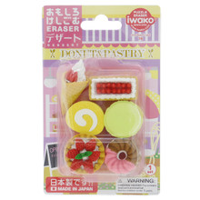 Iwako Japanese Eraser Donut & Pastry Strawberry Cake Macaroon Doughnut Cream Waffle Cone Dessert Miniatures Set of 6 Pieces Japan Import Made in Japan