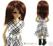 Wine Brown Straight Wavy 7-8 Wig for MSD BJD Dollfie Ellowyne Wilde Dolls