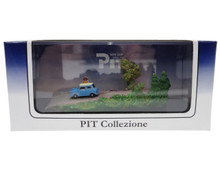Pit Collezione Japan Mini Car Gallery Blue Diecast & Scene in Display Case