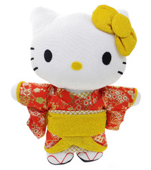 Telacoya Sanrio Hello Kitty Geisha Glitter Gold with Red Floral Kimono Rayon Plush Doll Mascot Stuffed Animal L Size 27.5cm (11 Inch) Japan Import
