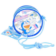 Eikoh Shopro Go Go with Doraemon Clear PVC Plastic Round Coin Purse Pouch Mini Bag with Crossbody String Japan Import