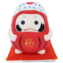 Japanese Culture Mascot Ceramic Red Ganbare Daruma Cheer Up Lucky Doll Piggy Bank Made in Japan