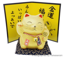 Japanese Culture Mascot Feng Shui Gold Ceramic Lucky Cat Maneki Neko Figurine Piggy Bank Made in Japan