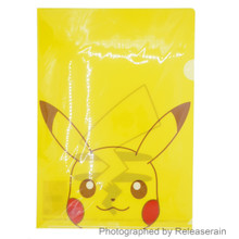 Small Planet Pokemon Pikachu Face A4 Clear File Folder Made in Japan Set of 10pcs