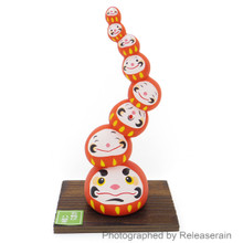 Japanese Ceramic Red Daruma Fall Seven Times Stand Up Eight Daruma Figurine Wooden Base Japan Import