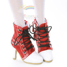 """Releaserain Doll Shoes Ankle Sneakers Boots Red FIT 16"""" Fashion Dolls like Ellowyne Wilde Tonner Antoinette Tyler"""