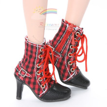 """Releaserain Doll Shoes Ankle Sneakers Boots Red/Black Checker FIT 16"""" Fashion Dolls like Ellowyne Wilde Tonner Antoinette Tyler"""