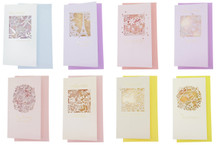 Eno Hollow Out Pastel Pearlescent Birthday Valentine Greeting Cards with Envelopes Pack Set of 8