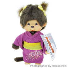 Original Sekiguchi Monchhichi Chan Girl Fireworks Yukata 21cm Stuffed Plush Doll Japan Import