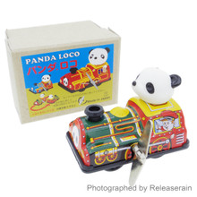 Japanese Retro Vintage Litho Tin Toy Wind-Up Panda Loco Train Made in Japan
