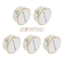 Kamoi Kakoshi MT For Kids Japanese Washi Masking Tape 15mmx7m Ten-Ten Dots Set of 5 Rolls Made in Japan