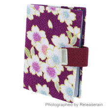 Japanese Floral Purple Kimono Chirimen Fabric Snap Closure Business Card Case Made in Japan