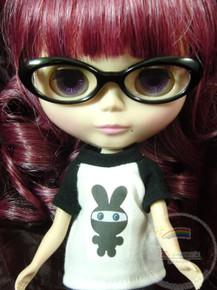 "Releaserain Doll Glasses Black Frame Clear Lens Eyeglasses #A2 For 12"" Blythe Dolls"