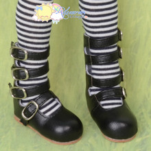 Releaserain 4-Strap Mary Jane Buckled Shoes Boots Black for Regular to Large Feet MSD Size Kaye Wiggs Dollfie BJD Dolls