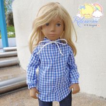 "Lace-Up Collars Puff Long Sleeves Blue Checkered Shirt For 16"" Sasha Doll"