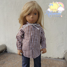 "Lace-Up Collars Puff Long Sleeves Brown Checkered Shirt For 16"" Sasha Doll"
