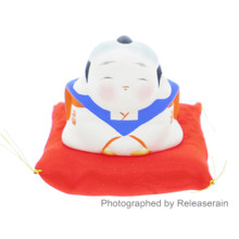 Traditional Japanese Ceramic Fukusuke Miniature Lucky Doll Figure Made in Japan