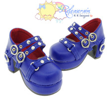 Releaserain Doll Shoes Double Buckle Stud Chunky Platform Heel Mary Jane Royal Blue For 1/3 Scale SD Girl BJD Dollfie Dolls