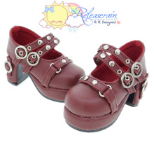 Releaserain Doll Shoes Double Buckle Stud Chunky Platform Heel Mary Jane Wine Red For 1/3 Scale SD Girl BJD Dollfie