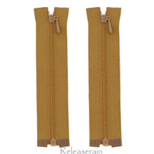 """4"""" Tiny Separating DIY Doll Clothes Jacket Nylon Coil Size #0 Open End Sewing Zippers Brown Set of 2 Pieces"""
