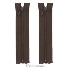 """4"""" Tiny Separating DIY Doll Clothes Jacket Nylon Coil Size #0 Open End Sewing Zippers Chocolate Set of 2 Pieces"""