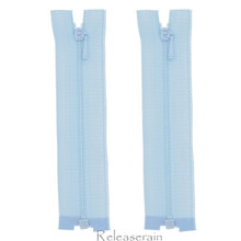"4"" Tiny Separating DIY Doll Clothes Jacket Nylon Coil Size #0 Open End Sewing Zippers Pale Blue Set of 2 Pieces"