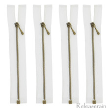 10cm Bronze Plated Brass White Nylon Size 0 Tiny Teeth Open-End Separating Doll Clothes Jacket Sewing Zipper  4 Pieces
