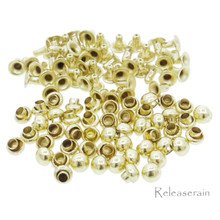 3mm Tiny Gold Brass Mushroom Round Dome Rivets For DIY Doll Clothes Sewing Craft 50 Sets