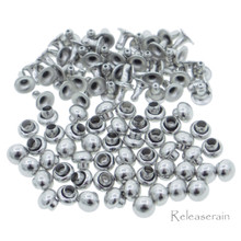 3mm Tiny Silver Brass Mushroom Round Dome Rivets For DIY Doll Clothes Sewing Craft 50 Sets