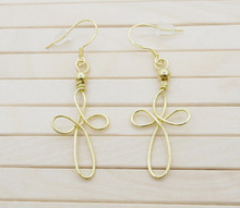 Releaserain Artist Handcrafted Jewelry Gold Brass Copper Wire Celtic Cross Dangle Earrings