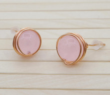 Releaserain Artist Handcrafted Jewelry Natural Pink Chalcedony Gemstone Bead Copper Wire Wrapped Stud Earrings