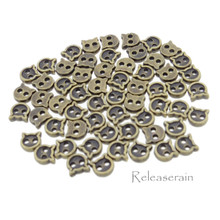 4mm Kitty Cat Shaped DIY Doll Clothes Sewing Sew On Plated Metal Miniature Buttons Bronze 60pcs