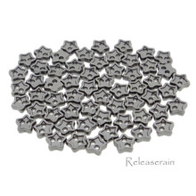4mm Star Shaped DIY Doll Clothes Sewing Sew On Plated Metal Miniature Buttons Charcoal 60pcs