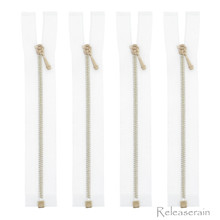10cm Gold Plated Brass White Nylon Size 0 Tiny Teeth Open-End Separating Doll Clothes Jacket Sewing Zipper  4 Pieces