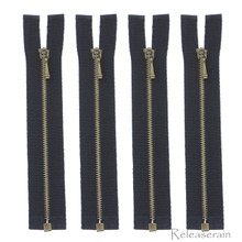 10cm Bronze Plated Brass Black Nylon Size 0 Tiny Teeth Open-End Separating Doll Clothes Jacket Sewing Zipper  4 Pieces