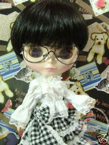 "Releaserain Doll Glasses Copper Eyeglasses Black Frame Clear Lens #C1 For 12"" Blythe and 16"" Terri Lee Dolls"