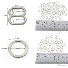6mm Inner Diameter Silver DIY Doll Clothes Metal Sewing Bra Lingerie Sliders 50 Pieces + O Rings 50 Pieces