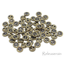 4mm Round Doll Clothes Sewing Sew On Bronze Plated Metal Miniature Buttons with Rim 60 Pieces