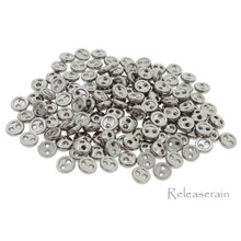 4mm Round Doll Clothes Sewing Sew On Charcoal Plated Metal Miniature Buttons with Rim 60 Pieces