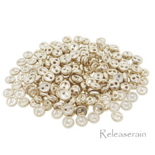 4mm Round Doll Clothes Sewing Sew On Gold Plated Metal Miniature Buttons with Rim 60 Pieces