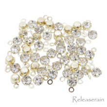 3.5mm DIY Craft Doll Clothes Sewing Sew On Miniature Rhinestone Pendents Gold 50pcs