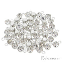 3.5mm DIY Craft Doll Clothes Sewing Sew On Miniature Rhinestone Pendents Silver 50pcs
