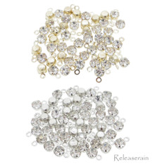 3.5mm DIY Craft Doll Clothes Sewing Sew On Miniature Rhinestone Pendents Silver 25pcs+Gold 25pcs