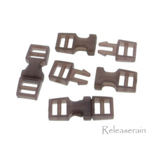 Outer 6x16mm Inner Diameter 4mm DIY Doll Clothes Sewing Plastic Side Release Buckles Brown 20pcs